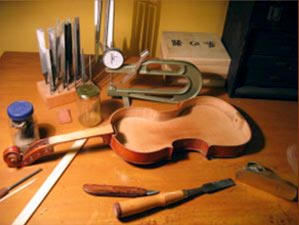 Violin being repaired